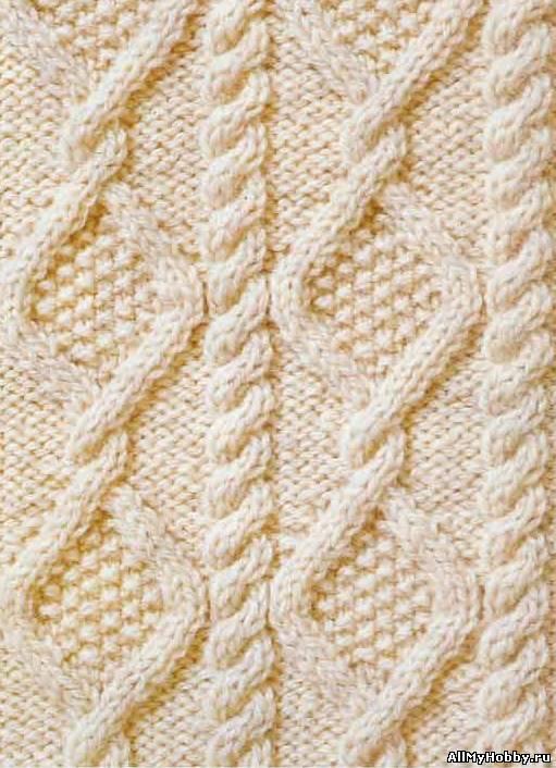 Схема вязания спицами №34 Аран