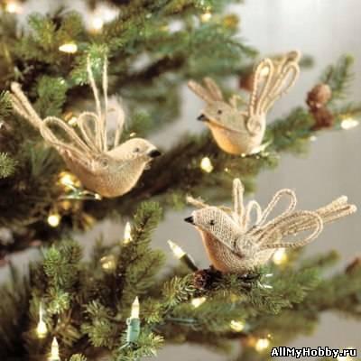 Фото мастер-класс: Птички из мешковины на елку или просто для красоты